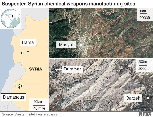 Map showing locations of suspected Syrian chemical weapons manufacturing sites