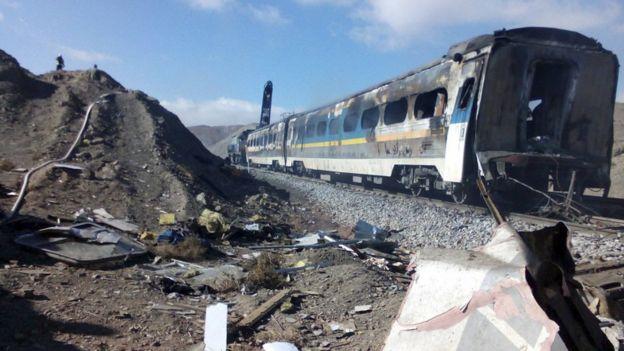 The scene of a train crash about 150 miles (250km) east of the Iranian capital Tehran, 25 November 2016.