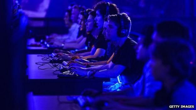 Video gamers at gaming conference