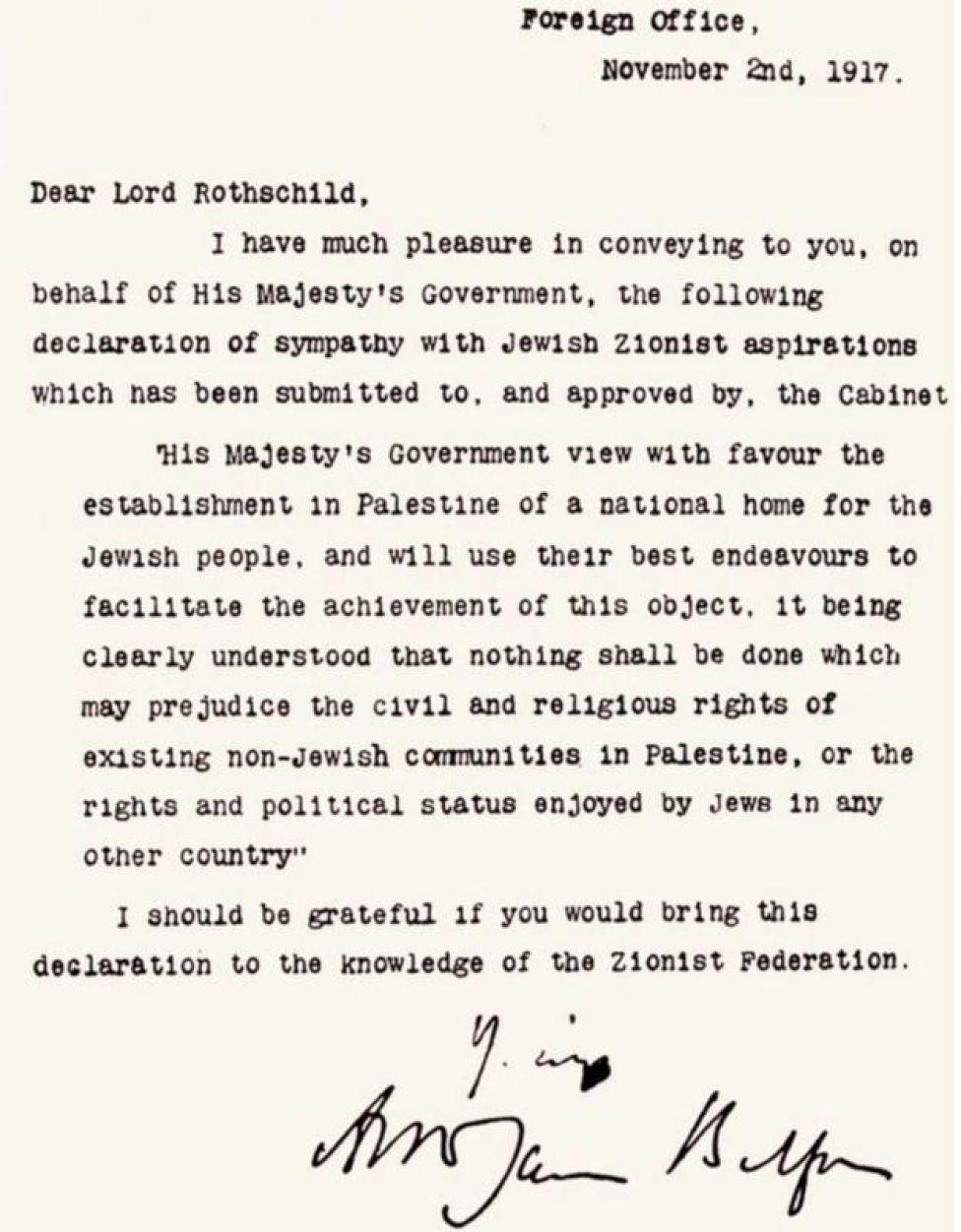 Foto del texto de la declaración de Balfour.