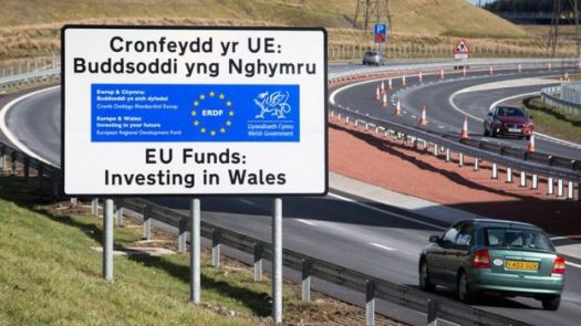 EU investment sign in Wales, 7 Mar 16