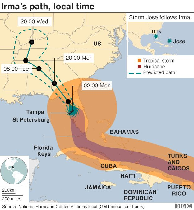 A map showing the projected path of Hurricane Irma