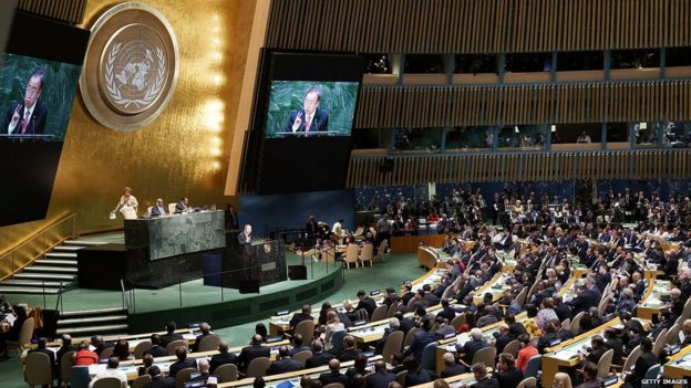 Ban Ki-moon address the UN general assembly