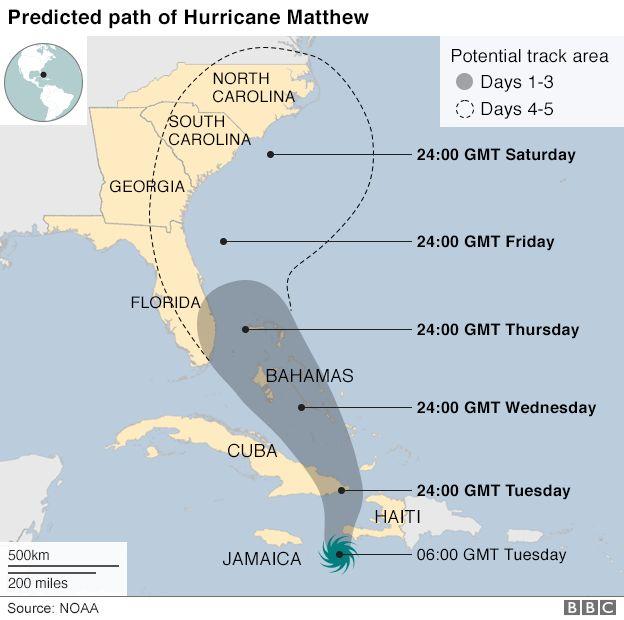 A map showing Hurricane Arthur's path