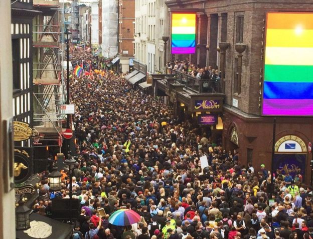 An aerial view of crowds in London's West End
