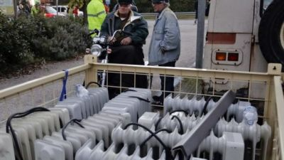 Portable heaters are brought to a region of Italy after an earthquake