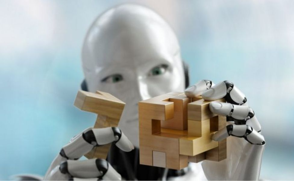 3D render of a humanoid robot trying to solve a 3D wooden puzzle