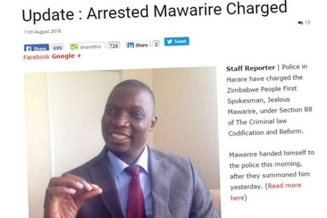 Screengrab from Zimbabwean website Zimeye