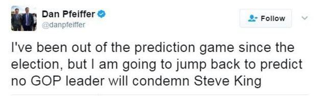 Twitter user Dan Pfeiffer writes: