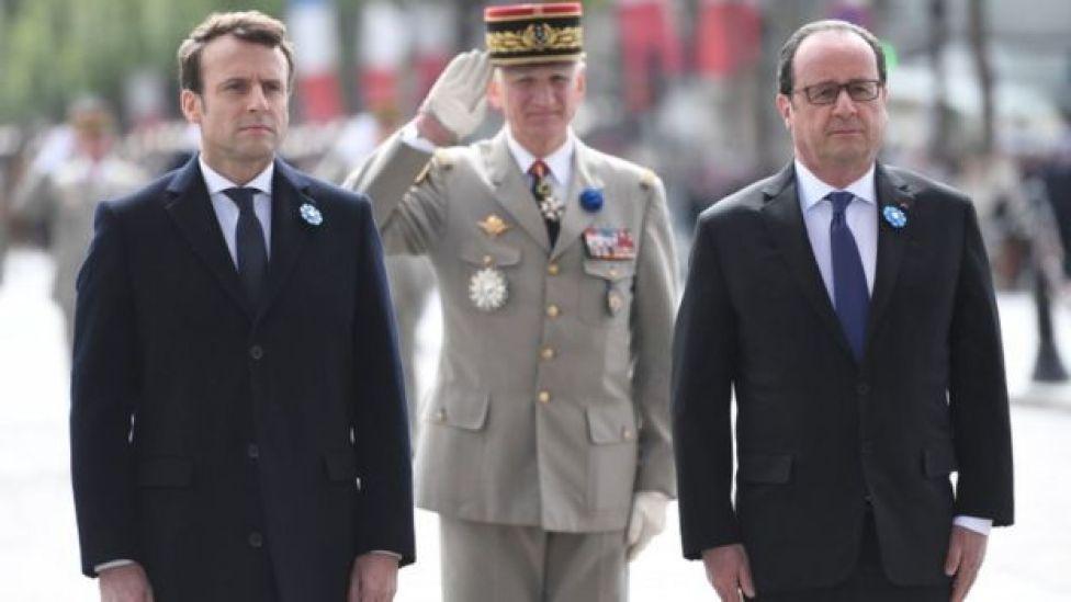 Emmanuel Macron and François Hollande attend events commemorating the Second World War