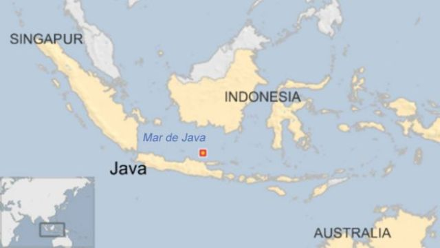 Mapa de Indonesia y el Mar de Java.