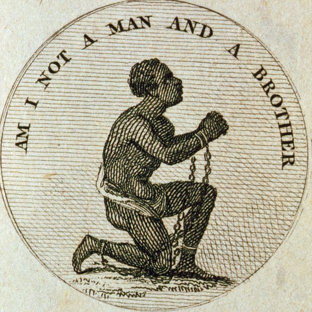 """grabado que incluyó en uno de sus libros """"El jardín botánico"""", un poema sobre ciencia y naturaleza, en el que dice """"¿No soy un hombre y un hermano?""""."""