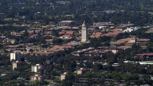 Aerial picture of Stanford University's campus in Palo Alto, California, on 7 April, 2016