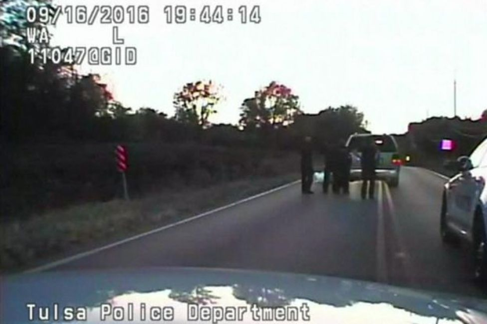 Screengrab of video from the Tulsa Police Department shows Terence Crutcher on the ground