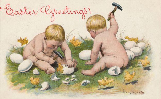 babies hammering eggs