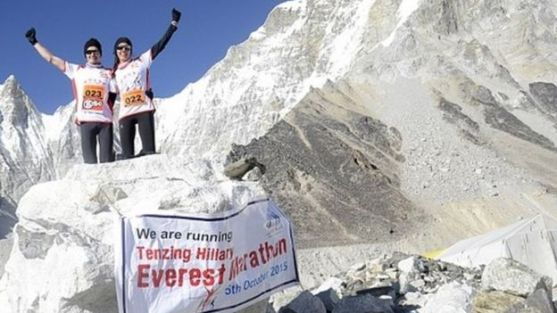 Runners brave icy temperatures to participate in the world's highest marathon in the foothills of Mount Everest in Nepal (05 October 2015)