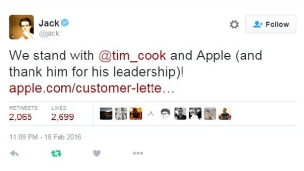 Jack Dorsey said he stood by Tim Cook on his refusal to decrypt the iPhone