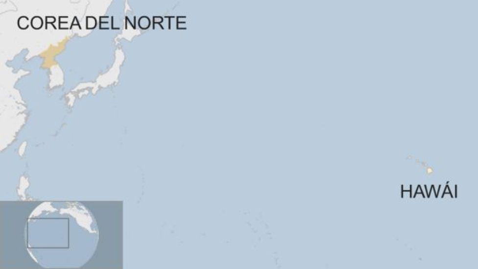 Mapa Corea del Norte y Hawái