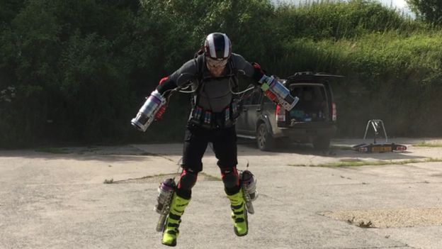 Iron Man demonstrates flying suit 2017