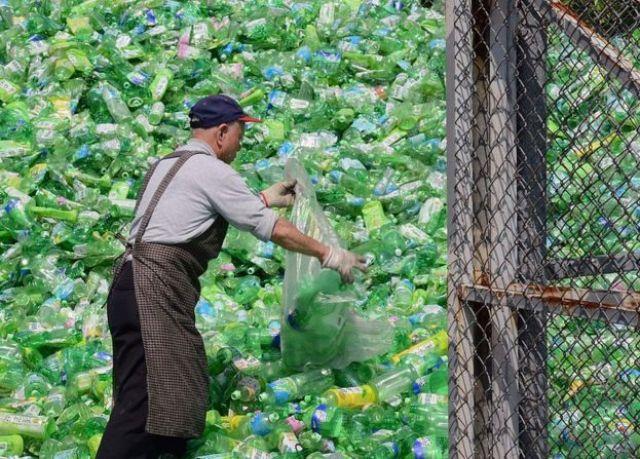 Un volontario è ordinato attraverso bottiglie di plastica in una fabbrica di riciclaggio a Taipei, Taiwan