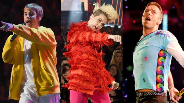 Justin Bieber, Katy Perry, Chris Martin