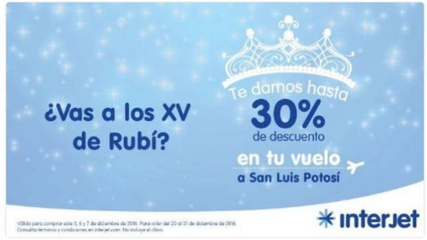 Interjet advert offering 30% discount on flights to San Luis Potosi