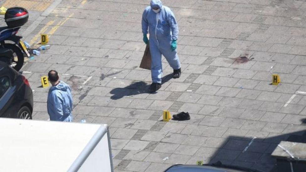 Police forensic experts have been at the scene of the attack