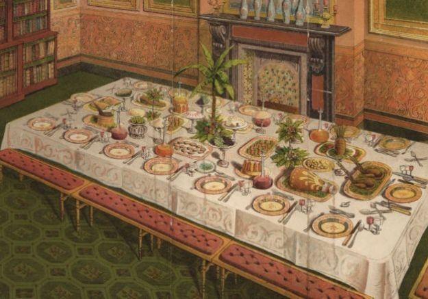 стол с едой