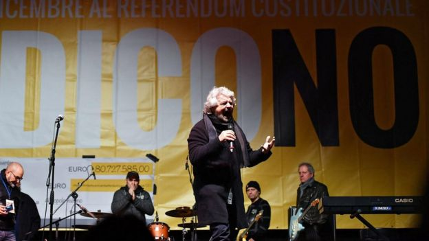 Five Star's Beppe Grillo speaks at a No campaign demonstration in Turin - 4 December