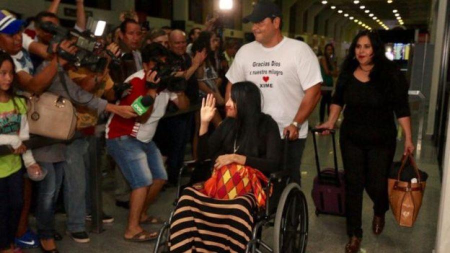 Ximena Suárez ao voltar à Bolívia