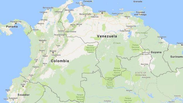 Mapa que muestra la ubicación de Venezuela y Colombia.