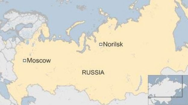 Russia Norilsk map