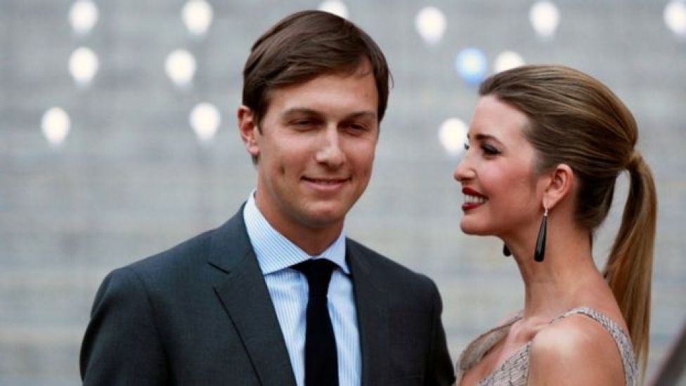 Donald Trump's daughter Ivanka Trump arrives with husband Jared Kushner at the Vanity Fair party to begin the 2012 Tribeca Film Festival in New York, April 2012.