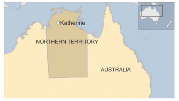 Map of Katherine in Northern Territory in Australia