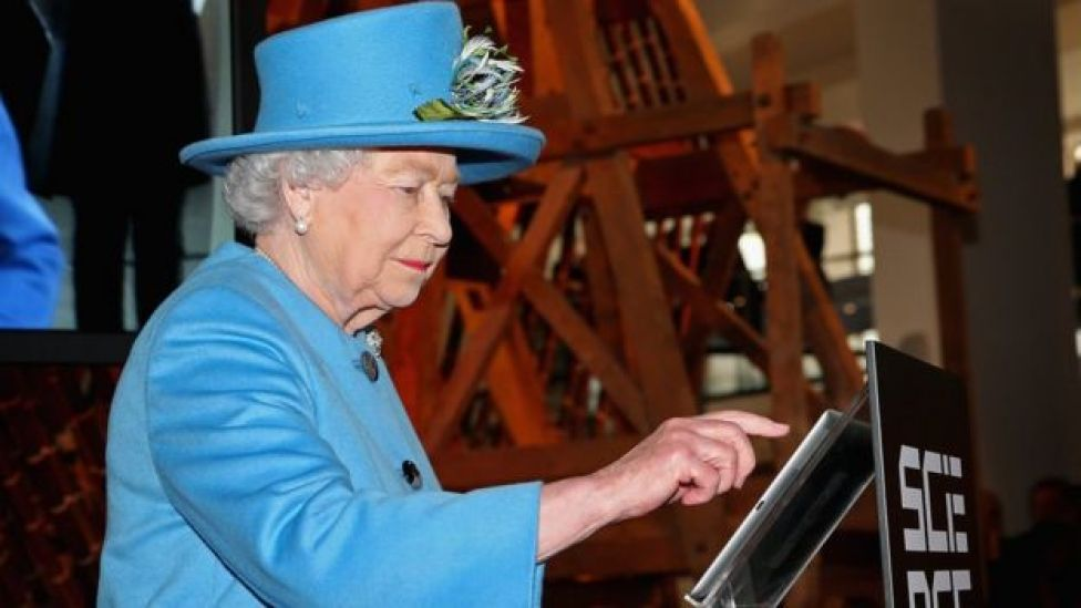 The Queen using a tablet computer