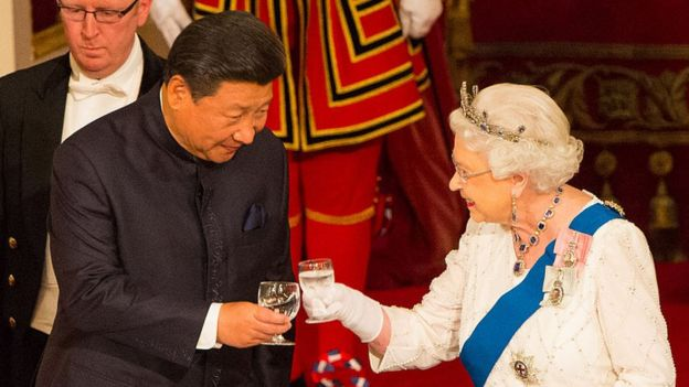 Chinese President Xi Jinping with the Queen at a state banquet in October, 2015