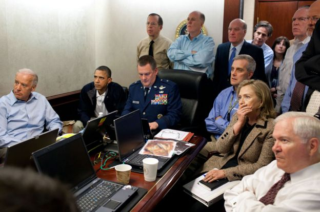 Obama and team in Situation Room