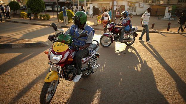 A boda-boda drivers in Kigali