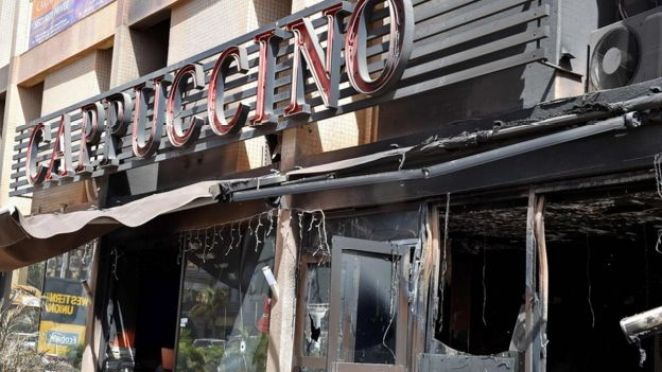 The bombed-out Cappuccino cafe in Burkina Faso