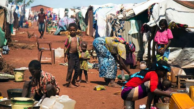 Camp for displaced people in South Sudan