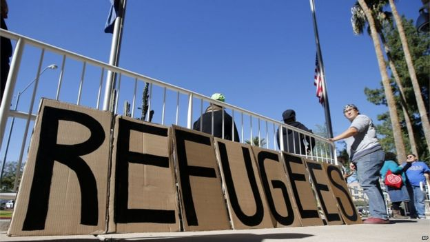 A sign welcoming refugees in Phoenix, Arizona