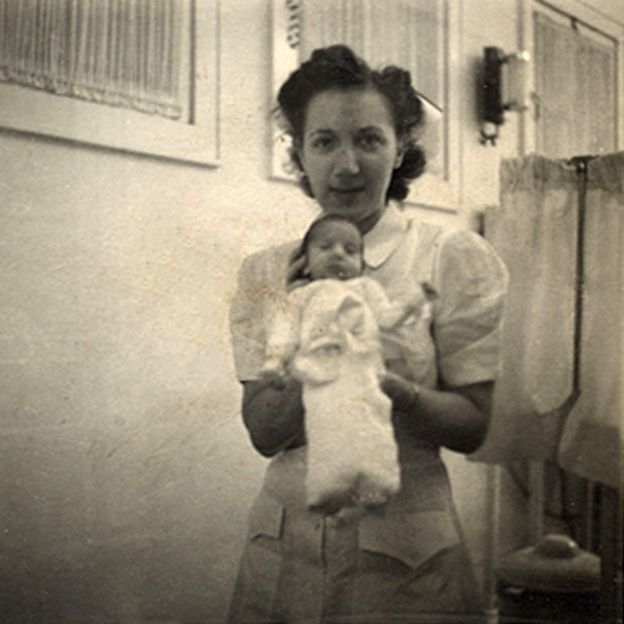 Beth Allen as a baby with one of Dr Couney's nurses