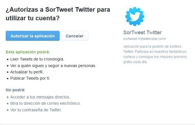 ¿Autorizas a SorTweet Twitter para utilizar tu cuenta?