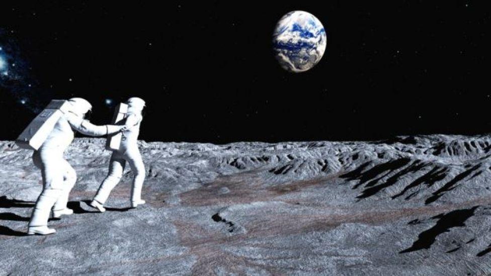 Ilustración de colonizadores de la Luna