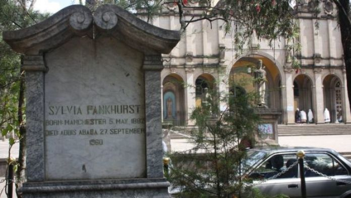 Sylvia Pankhurst's grave outside the cathedral in Addis Ababa