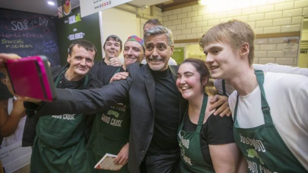 George Clooney with Social Bite staff