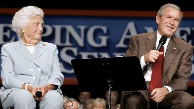 Barabara Bush with son George W Bush