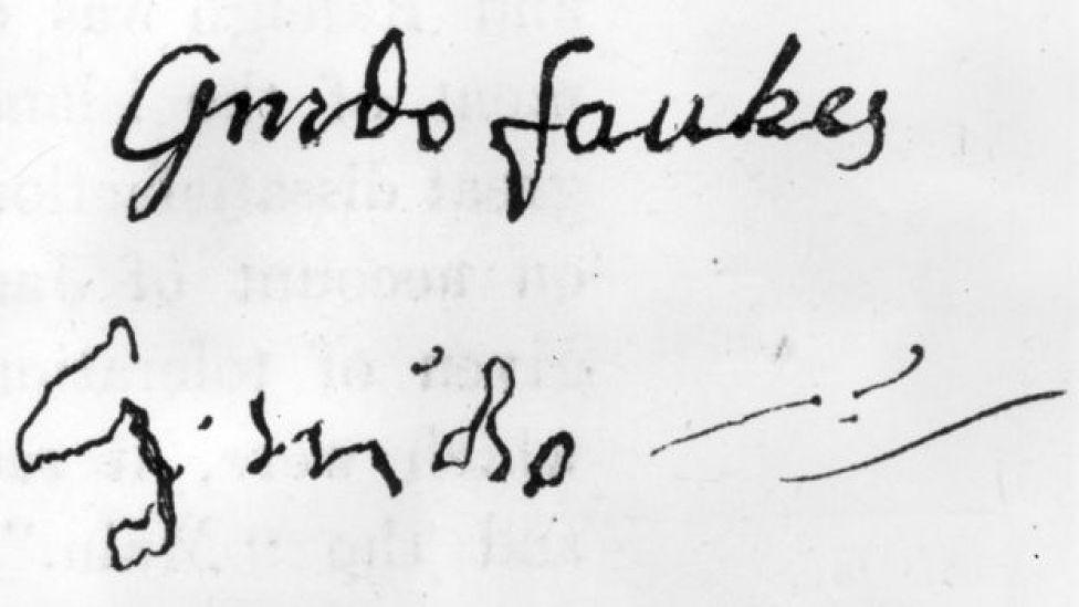 Firma de Guy Fawkes antes y después de ser torturado.