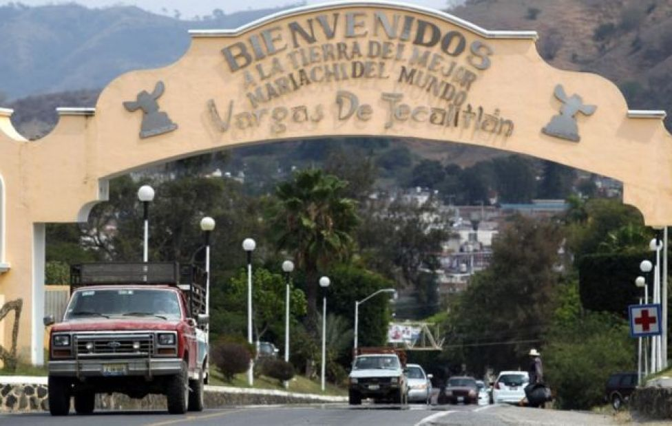 "A sign at the entrance to the town of Tecalitlán reads ""Welcome to the land of the best Mariachi in the world"""