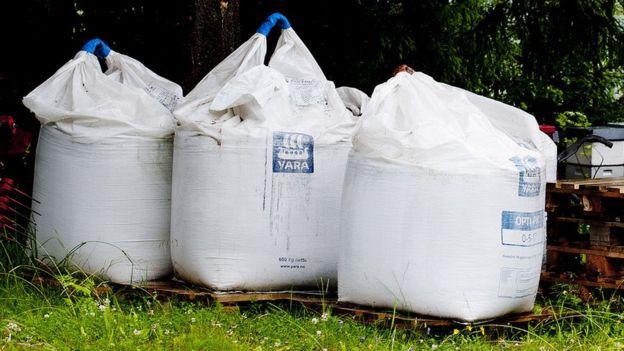 Bags of fertiliser which were found on Anders Breivik's farm